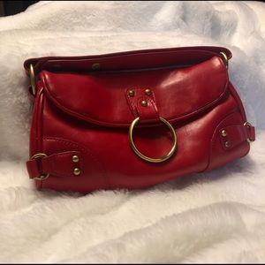 Red Nine West Clutch Purse with small Strap